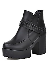 Women's Low-top Solid Hook-and-loop Round Closed Toe High-Heels Boots