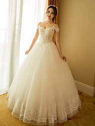A-line Wedding Dress Floor-length Bateau Organza with Beading