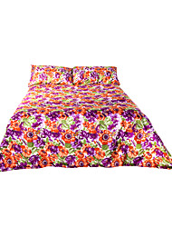 Seersucker treatment transfer prints 4 pcs sheet set(1 flat sheet & 1 fitted sheet & 2pillowcase)