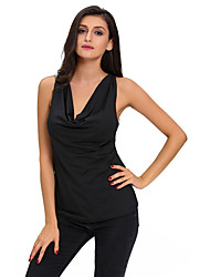 Women's Black Cowl Neck Laced Back Top