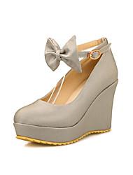 Feminino-Saltos-Plataforma / Sapatos com Bolsa Combinando-Anabela-Preto / Vermelho / Prateado / Bege-Courino-Escritório & Trabalho /