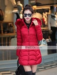 Women's Solid Red / Black / Gray / Green Down Coat,Simple / Street chic Hooded Long Sleeve