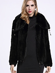 BF-Fur Style Women's Casual/Daily Sophisticated Fur CoatSolid Cowl Long Sleeve Winter Black Others