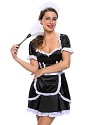 Sexy French Maid Cosplay Party Costume Maid Costumes Career Costumes Festival/Holiday Halloween Costumes Black Solid Dress Apron Headwear