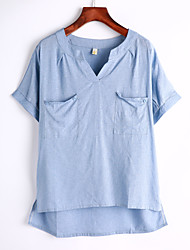 Women's Solid Blue / White / Gray Blouse,V Neck Short Sleeve