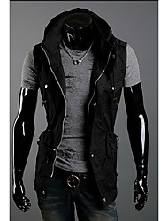 Men's Casual/Daily / Sports Simple / Active Jackets,Solid Stand Sleeveless Spring / Fall Black / Gray / Green Cotton Medium