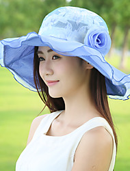 Women Summer Foldable Outdoors Shade Flowers Lace Tourism Beach Big Brimmed Hat
