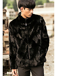 Men's Going out / Casual/Daily Vintage / Street chic Fur Coat,Solid Standing Collar Long Sleeve Winter Black Faux Fur Thick