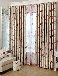 One Panel Curtain Modern , Flower Kids Room Poly / Cotton Blend Material Blackout Curtains Drapes Home Decoration For Window