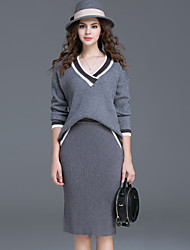 Women's Casual/Daily Simple Fall Skirt Suits,Solid V Neck Long Sleeve Gray Polyester