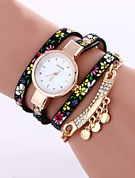 print flower strap with diamonds tassel pendant women leather wrap watch