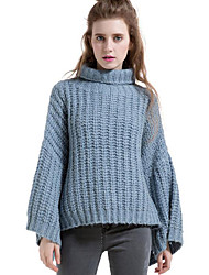 SIKYA Women's Casual/Daily Simple Long PulloverSolid Blue Turtleneck Long Sleeve Wool Fall / Winter Medium Micro-elastic