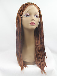Sylvia Synthetic Lace front Wig Medium Auburn Braided Hair Small Box Braids Heat Resistant Synthetic Wigs For Black Women