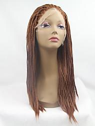 sylvia perruque avant de dentelle synthétique moyenne cheveux tressés petites tresses auburn boîte chaleur perruques synthétiques résistantes