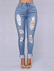 Damen Schlank / Skinny Jeans Hose-Ausgehen / Lässig/Alltäglich Sexy / Vintage / Einfach einfarbig Hohe Hüfthöhe Reisverschluss Elasthan