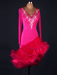 Latin Dance Dresses Performance Spandex / Lace / Organza Crystals/Rhinestones / Ruffles 1 Piece Long Sleeve High Dress
