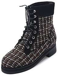 Thick with grid round entered lace-up boots knight low cylinder with short boots for women