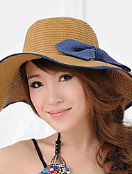 Women Vintage Casual Summer Bow Wide Eaves Straw Hat Foldable Beach Cap