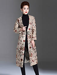 1898 Women's Plus Size / Casual/Daily Chinoiserie CoatJacquard V Neck Long Sleeve Winter Red / Beige Rabbit Fur / Polyester