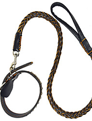 Dog Leash Casual Solid Black Genuine Leather