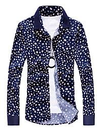 Excellent Floral Shirt New Slim Spell Color Business Men'S Long-Sleeved Shirt