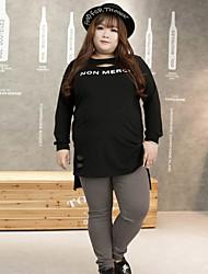 Feminino Tamanhos Grandes Skinny Chinos Calças-Cor Única Casual Simples Cintura Média Elasticidade Algodão / Elastano InelásticoOutono /