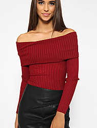 Women's Going Out Casual Regular Solid Off-the shoulder Slim Pullover Long Sleeve