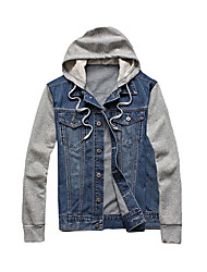 Men's Going out Street chic Denim Jackets,Color Block Hooded Long Sleeve Winter Blue Cotton Medium