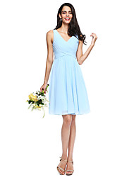 2017 Lanting Bride® Knee-length Chiffon Short Bridesmaid Dress - A-line V-neck with Side Draping
