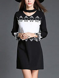 Women's Elegant Slim chic Lace DressSolid Round Neck Mini Long Sleeve Black Polyester Fall Mid Rise Micro-elastic Medium