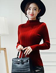 Feminino Padrão Pulôver,Férias / Trabalho estilo antigo / Moda de Rua Sólido Vermelho / Preto Colarinho Chinês Manga Longa Algodão