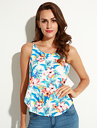Women's Print Blue Tanks,Strap Sleeveless
