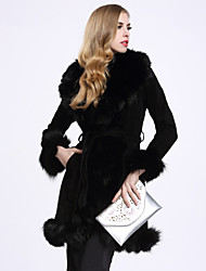BF-Fur Style Women's Casual/Daily Sophisticated Fur CoatSolid Shirt Collar Long Sleeve Winter Pink / Black / Brown / Gray Fox Fur