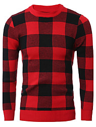 Men's Going out Casual/Daily Work Club Simple Cute Street chic Regular Pullover,Solid Round Neck Long Sleeve Wool Cotton PolyesterFall
