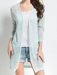 Damen Standard Strickjacke-Lässig/Alltäglich Einfach Solide Blau Halter ¾-Arm Leinen Herbst Mittel Mikro-elastisch