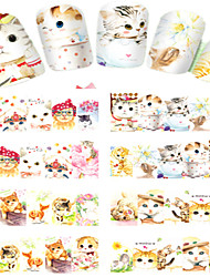 8pcs  Nail Art Water Transfer Stickers Lovely Cat  Image Fashion C220-223