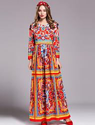 By Megyn  Women's Casual/Daily Boho Sheath DressPrint Round Neck Maxi Long Sleeve Orange Polyester Fall Mid Rise Inelastic Medium