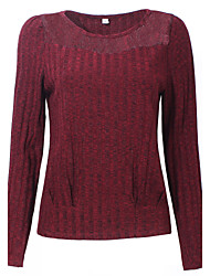 Normal Pullover Femme Décontracté / Quotidien simple,Couleur Pleine Rouge Col Arrondi Manches Longues Coton Acrylique SpandexAutomne