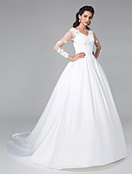 A-line Wedding Dress - Classic & Timeless Open Back Court Train V-neck Satin with Appliques Button Ruche