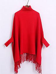 Damen Standard Mantel / Capes-Ausgehen / Lässig/Alltäglich Niedlich Solide Rot / Schwarz / Braun / Grau Rollkragen Langarm Baumwolle