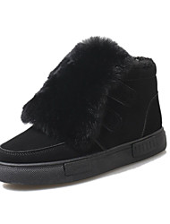 Women's Boots Fall Winter Platform Other Comfort Other Animal Skin Outdoor Dress Casual Chunky Heel Platform Magic Tape Pom-pom Black Gray