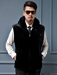 Men's Plus Size Street chic Fur Coat,Solid Hooded Sleeveless Winter Black Faux Fur Thick