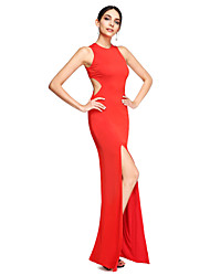 2017 TS Couture® Formal Evening Dress - Furcal Sheath / Column Jewel Floor-length Jersey with Split Front