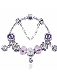 Bangles Charm Bracelet Sterling Silver Fashion Casual DIY Jewelry Gifts Purple Flower for Christmas 1pc