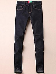 Men's Straight Jeans Pants,Casual/Daily Simple Solid Mid Rise Zipper Cotton Micro-elastic Fall