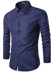 Men's Casual/Daily Simple Shirt,Print Shirt Collar Long Sleeve Blue / Red / White / Black / Purple Cotton
