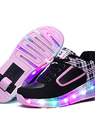 Kid Boy Girl's wheely's Roller Skate Shoes / Ultra-light One Wheel Skating LED Light Shoes / Athletic / Casual LED Shoes Black Pink