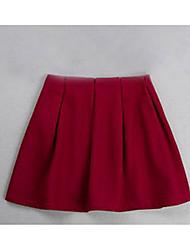Femme Jupes,Balançoire Couleur Pleine Plissé,Taille Normale simple / Actif Au dessus des genoux Sortie / Décontracté / Quotidien