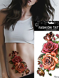5Pcs  Fashion Temporary Tattoo Sticker Colorful Rose Flower Design Women  Body Art