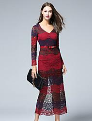 Dámské Jednoduché Běžné/Denní Pouzdro Šaty Barevné bloky,Tříčtvrteční rukáv Do V Midi Červená Polyester Podzim Mid Rise Neelastické